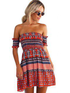 Red Ethnic Print Slash Neck Dress - Red M
