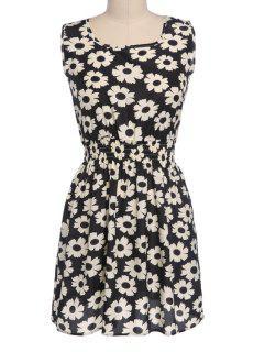 Floral Print Elastic Waist Sleeveless Dress - Black 2xl