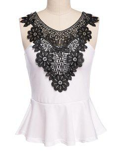 Scoop Neck Lace Splicing Tank Top - White And Black Xl