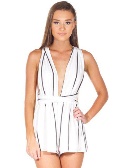 outfit Striped Plunging Neck Rompers - WHITE XL Mobile