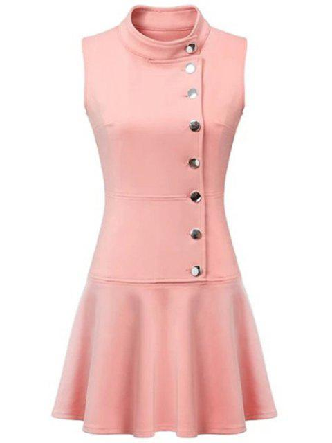 ladies Ruffles Button Down Skater Dress - PINK L Mobile
