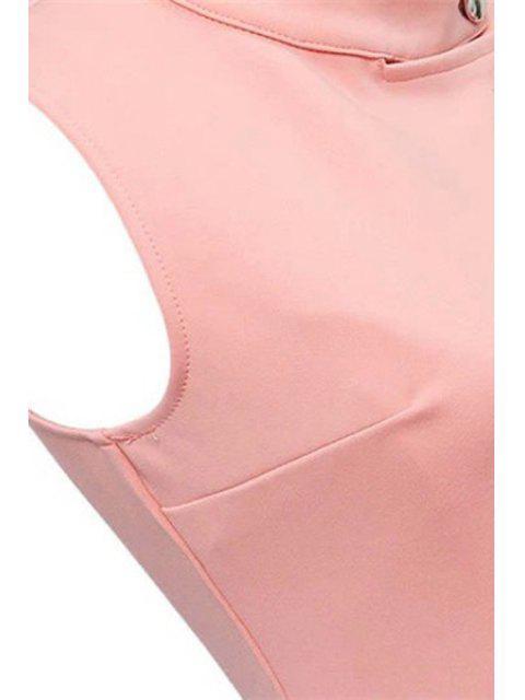 ladies Ruffles Button Down Skater Dress - PINK L Mobile
