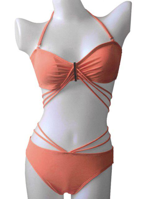 lady Solid Color Bandage Tie-Up Bikini Set - JACINTH M Mobile