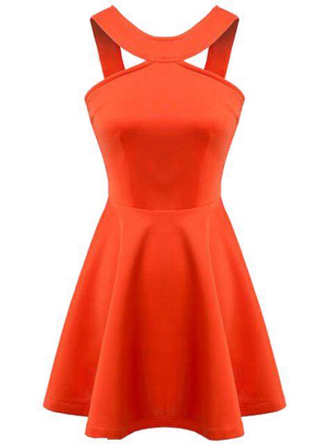new Orange Sleeveless A-Line Dress - ORANGE L Mobile