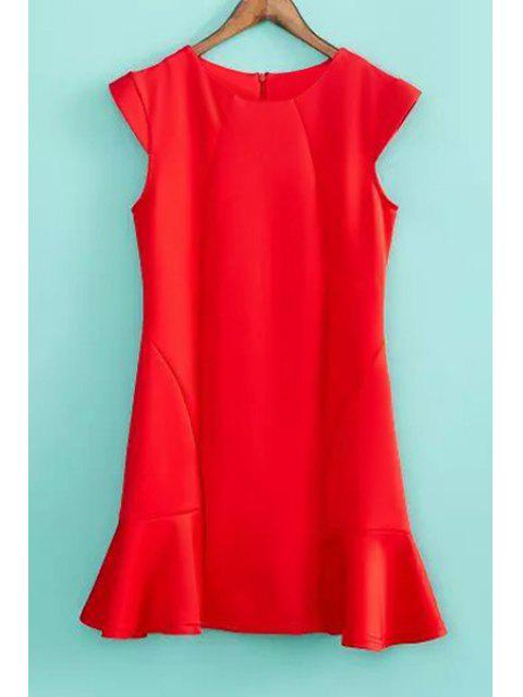 chic Solid Color Ruffles Splicing Dress - RED M Mobile