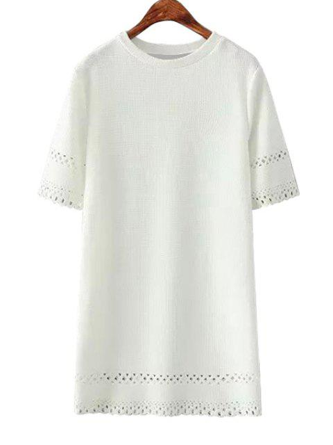 ladies Hollow Out Short Sleeve Dress - WHITE ONE SIZE(FIT SIZE XS TO M) Mobile