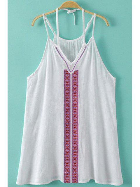 outfits Spaghetti Strap Embroidery Tank Top - WHITE S Mobile