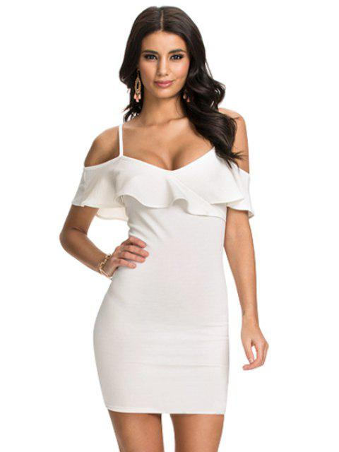lady Ruffled Spaghetti Straps Bodycon Dress - WHITE M Mobile