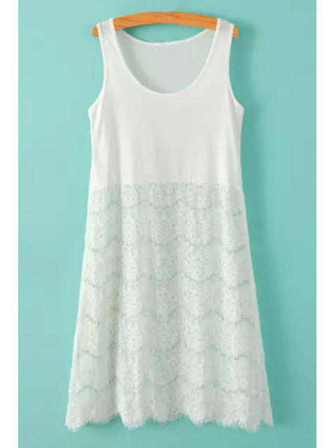 buy Lace Splicing Solid Color Sundress - WHITE ONE SIZE(FIT SIZE XS TO M) Mobile