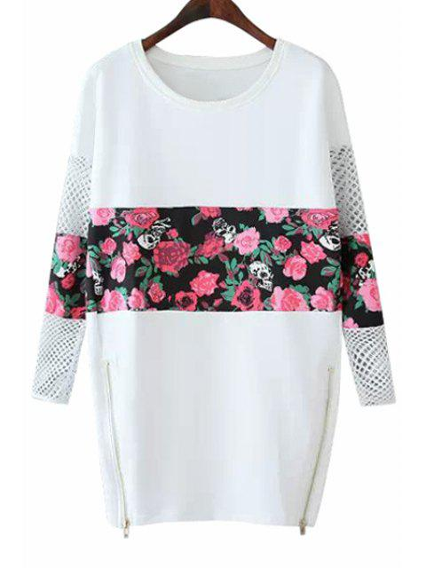 ladies Floral Splicing Long Sleeves Dress - WHITE S Mobile