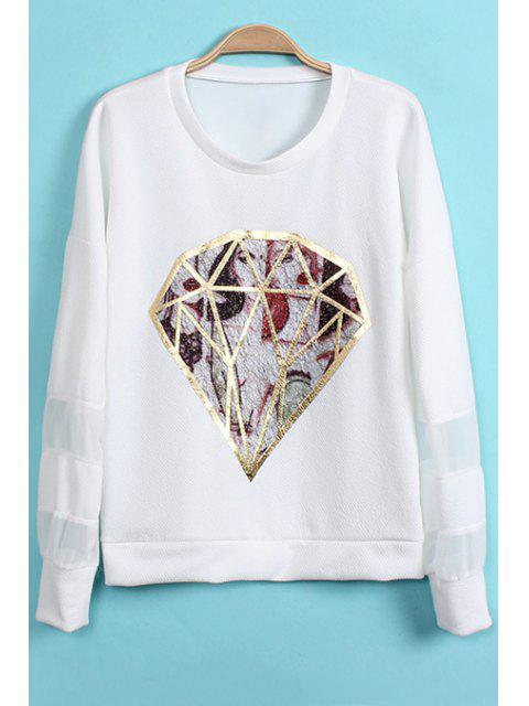 new Diamond Pattern Chiffon Splicing T-Shirt - WHITE ONE SIZE(FIT SIZE XS TO M) Mobile