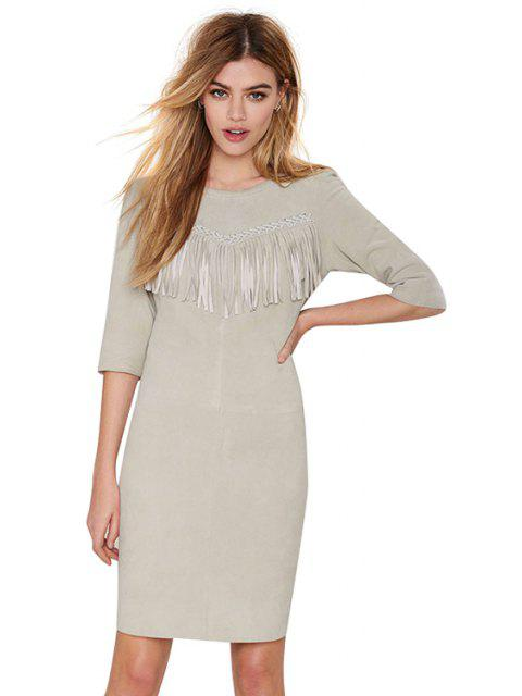 fancy Fringe Splicing Solid Color Half Sleeve Dress - GRAY L Mobile