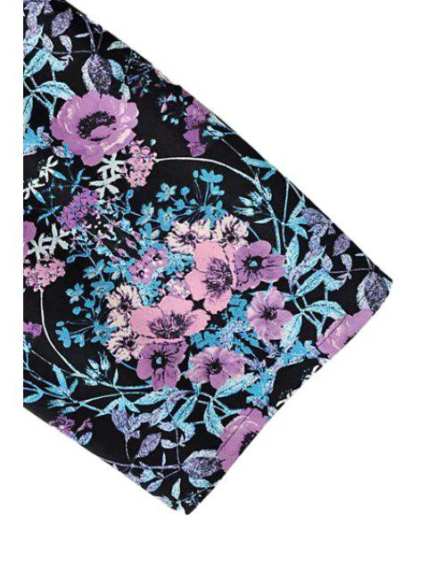Purple Floral Imprimir sin respaldo 3/4 vestido de manga - Colores Mezclados S Mobile