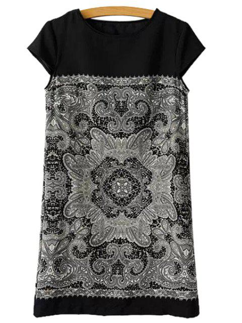 women Floral Print Straight Short Sleeve Dress - BLACK L Mobile
