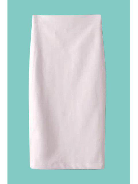 fancy Faux Leather Slit Long Skirt - WHITE M Mobile
