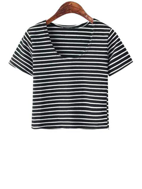 outfit Scoop Neck Solid Color T-Shirt - STRIPE ONE SIZE(FIT SIZE XS TO M) Mobile