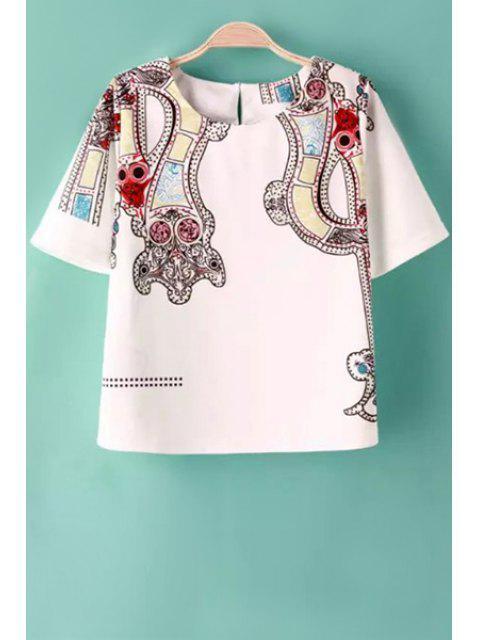 buy Color Block Print Short Sleeve T-Shirt - WHITE S Mobile