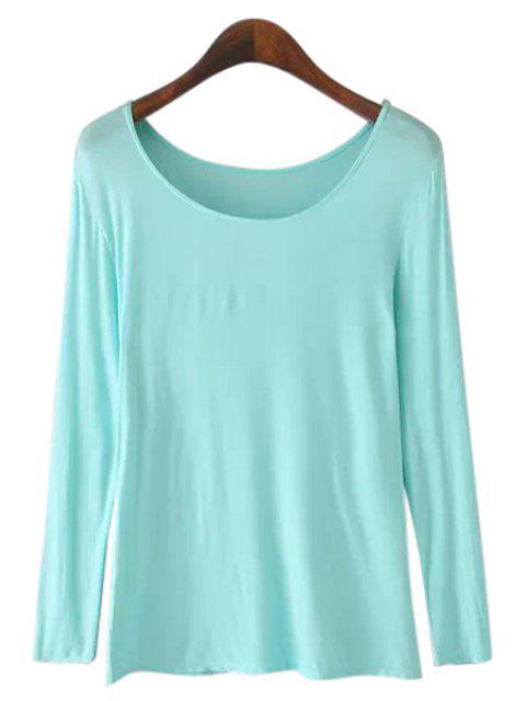 lady Solid Color Long Sleeve T-Shirt - BLUE L Mobile