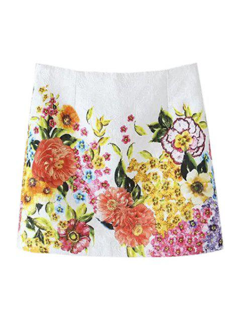 hot Colorful Floral Print Zipper Fly Skirt - WHITE M Mobile