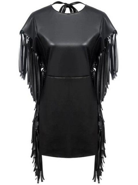 sale Fringe PU Leather Short Sleeve Dress - BLACK S Mobile