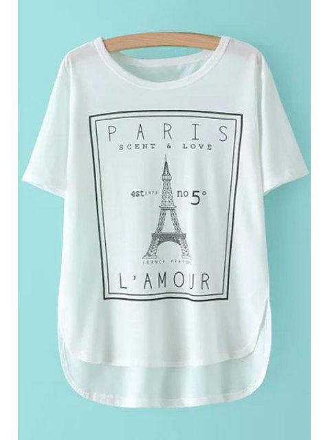 new Eiffel Tower Print Short Sleeve T-Shirt - WHITE ONE SIZE(FIT SIZE XS TO M) Mobile