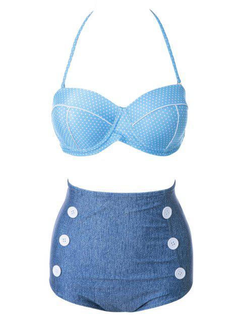women's Polka Dot High Waist Bikini Set - BLUE S Mobile