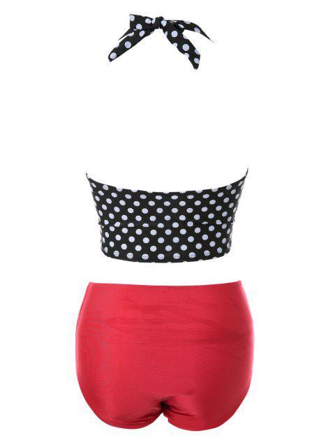 latest Polka Dot Bandage Vintage Bikini Set - BLACK AND WHITE AND RED S Mobile
