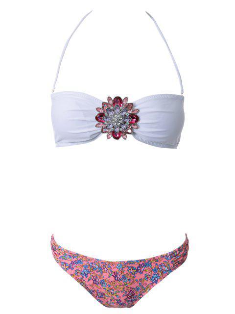 Sin tirantes de la impresión floral Bikini Set - ROJO CON BLANCO L Mobile