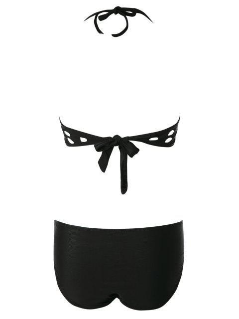 trendy Black Halter Hollow Bikini Set - BLACK L Mobile