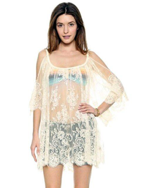 affordable Off-The-Shoulder See-Through Lace Dress - WHITE M Mobile