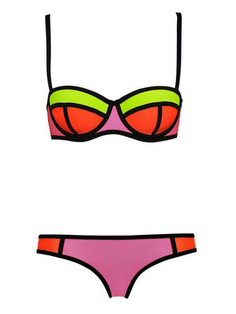 womens Color Block Plaid Bikini Set - PINK M Mobile