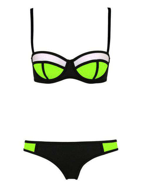 fancy Color Block Plaid Bikini Set - BLACK XL Mobile
