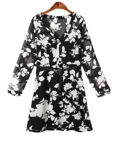 shops White Floral Print Belt Long Sleeve Dress - BLACK M Mobile