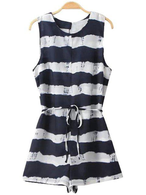 latest Stripe Color Block Tie-Up Romper - WHITE AND BLACK S Mobile