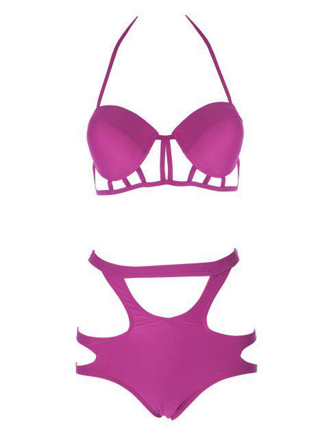 women's Caged High Rise Cut Out Bikini Set - PLUM L Mobile