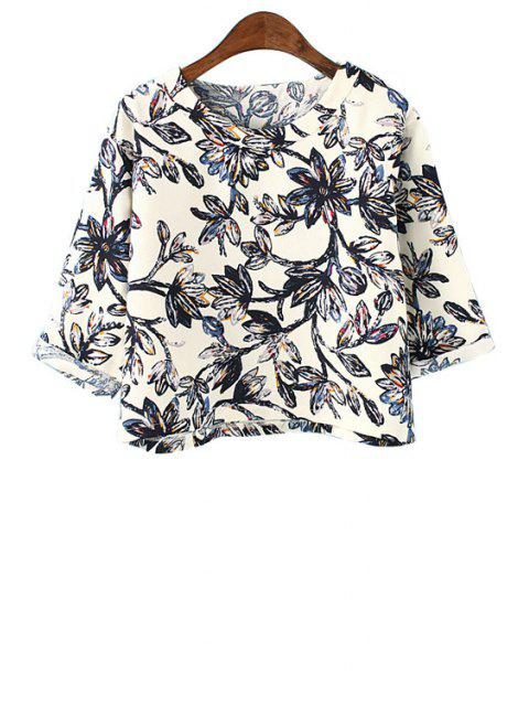 fancy Full Floral Print Half Sleeve T-Shirt - BLACK ONE SIZE(FIT SIZE XS TO M) Mobile