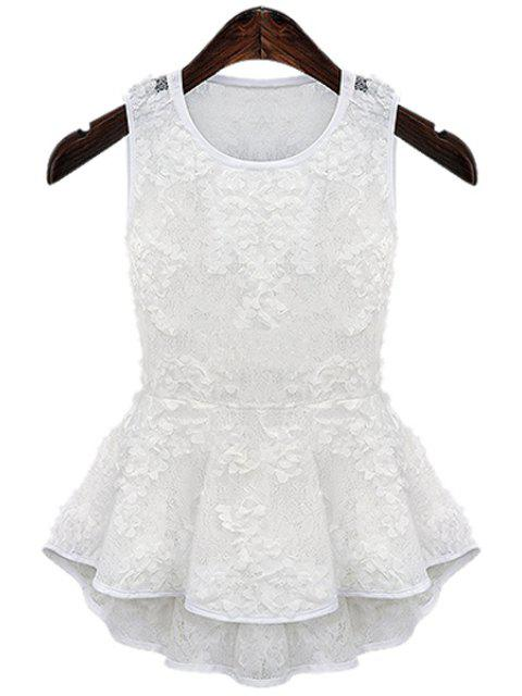 chic Lace Flouncing Tank Top - WHITE S Mobile