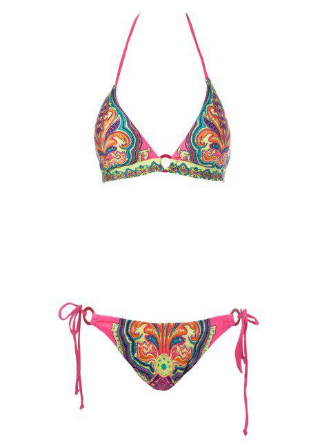 best Print Halter Side-Tie Bikini Set - RED M Mobile