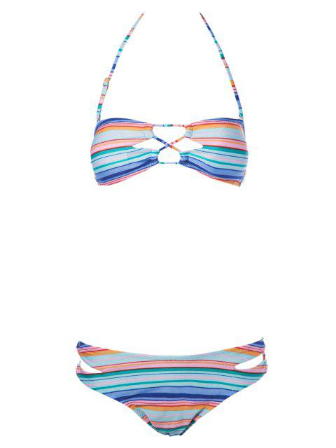 women Striped Strapless Bikini Set - STRIPE M Mobile