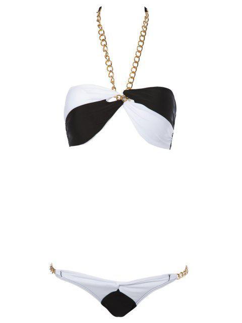 Color Block Chain Bikini - Blanc et Noir L Mobile