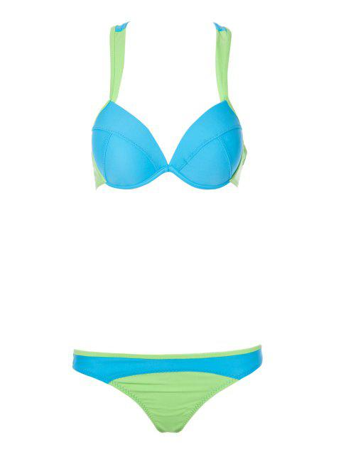 Color Block Splicing bretelles Bikini - Bleu L Mobile
