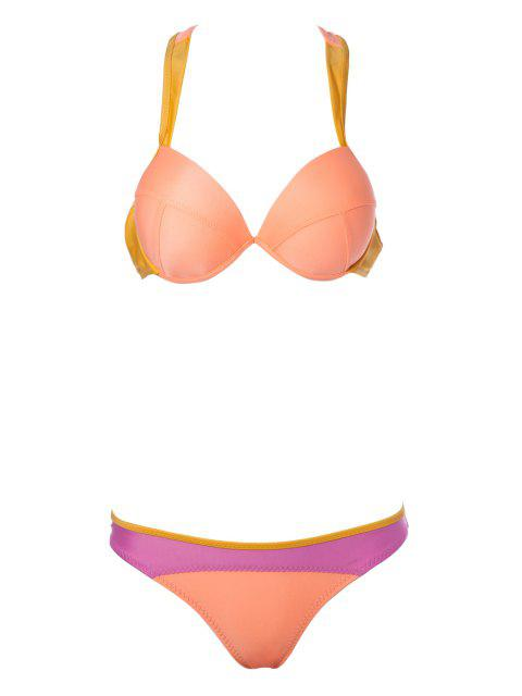 hot Color Block Splicing Straps Bikini Set - ORANGE S Mobile