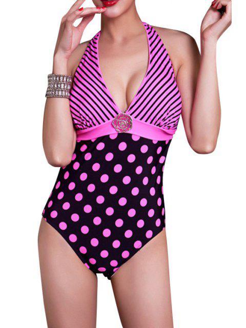 outfits Striped Polka Dot One-Piece Swimwear - PINK XL Mobile