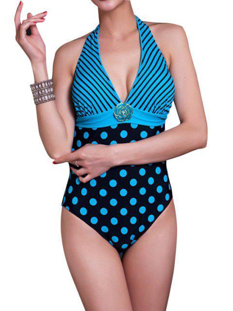 fancy Striped Polka Dot One-Piece Swimwear - LAKE BLUE XL Mobile