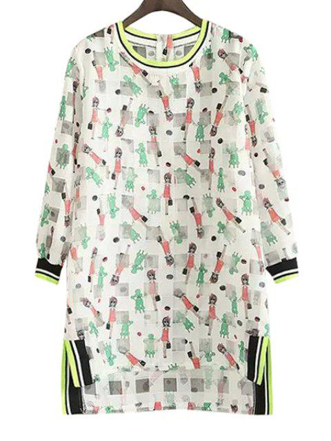 ladies Figure Print Checked Long Sleeve Dress - GREEN M Mobile