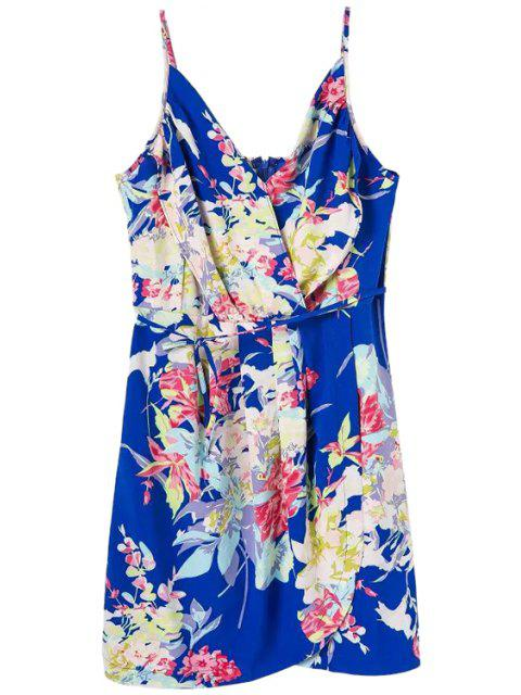 lady Floral Spaghetti Straps Lace-Up Dress - BLUE M Mobile