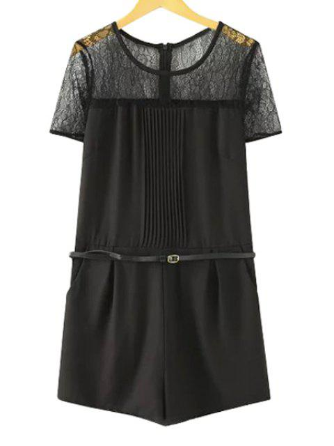 outfits Lace Spliced Short Sleeve Romper - BLACK L Mobile