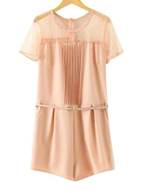 latest Lace Spliced Short Sleeve Romper - PINK S Mobile