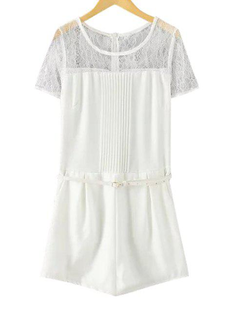 sale Lace Spliced Short Sleeve Romper - WHITE S Mobile
