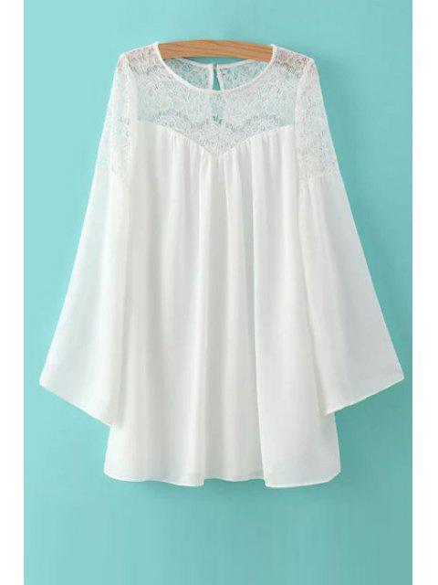 White Lace Spliced ​​robe à manches longues - Blanc S Mobile